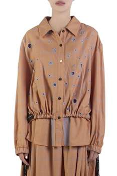 Apricot orange shirt with polka-dot embroidery