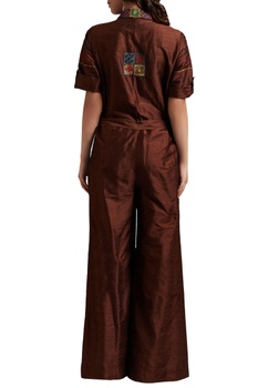 Brown raw silk embroidered jumpsuit