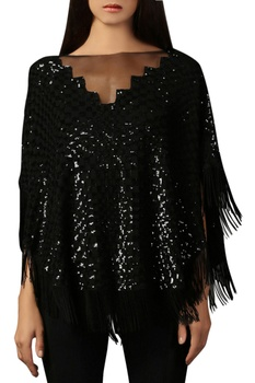 Black sequin & tassel top