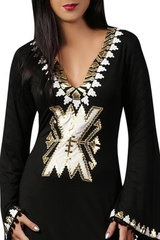 Black & white jersey kaftan