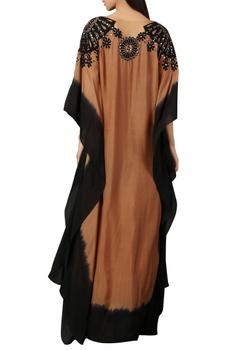 Brown & black printed kaftan