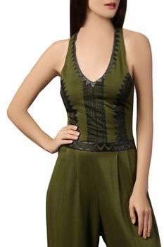 Olive green halter style jumpsuit