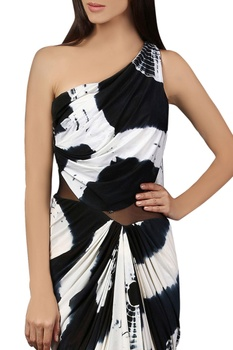 Black & white one-shoulder sari gown