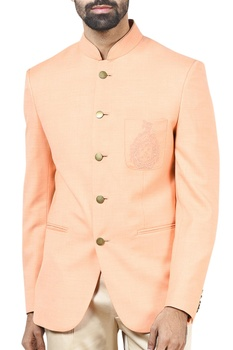 Peach bandhgala with trousers