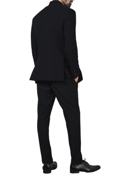 Black asymmetric bandhgala with pants