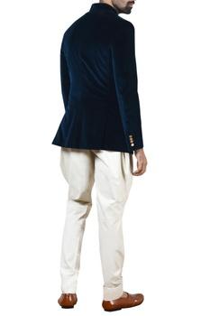 Teal blue velvet bandhgala set