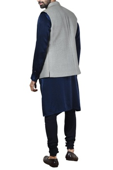 Grey quilted silk nehru jacket set