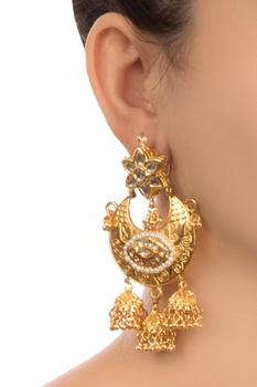 Gold semi-precious stones gold plated earrings