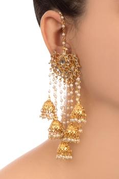 Gold semi-precious stones gold plated jhumka earrings