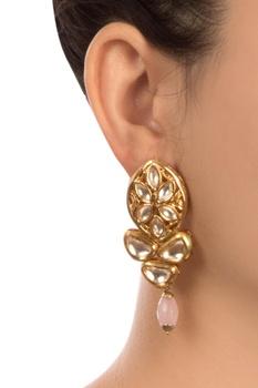 Pink semi-precious stones gold plated stud earrings