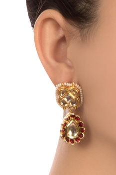 Red semi-precious stones gold pated stud earrings