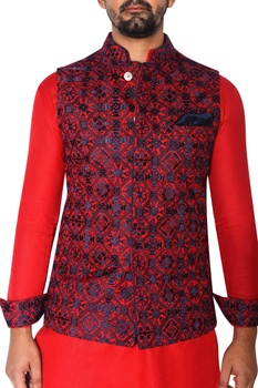 Red & blue embroidered jacket set