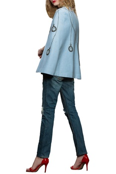 Blue pocket watch embroidered cape