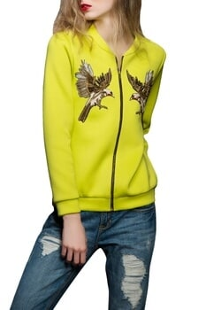Neon green eagle motif jacket