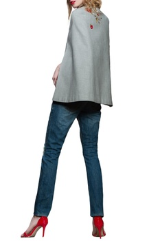 Grey ketchup motif cape