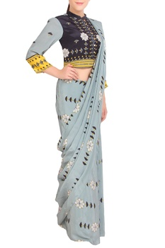 Grey printed sari with button-down blouse