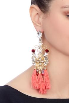 Gold swarovski earrings with tassels