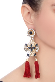 Gold swarovski mughal inspired earrings