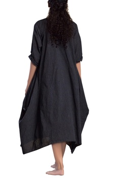 Black striped side cowl dress