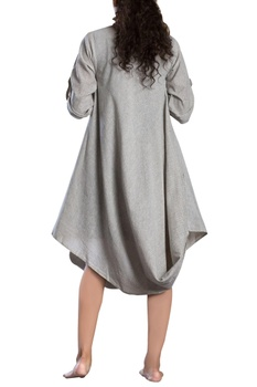 Ivory checks cowl dress