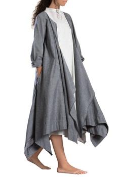 Grey asymmetrical handloom jacket