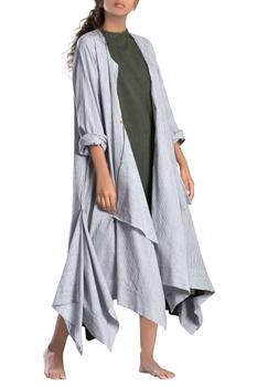 White asymmetrical khadi jacket