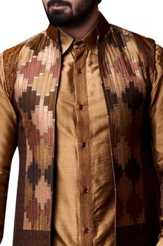 Beige patchwork bandhi jacket set