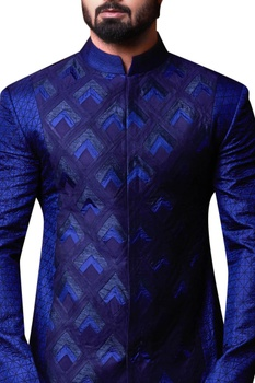 Blue patchwork style achkan