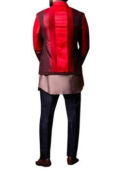 Maroon patchwork style jacket set