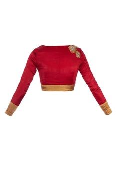 Maroon silk embellished blouse