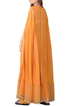 Ochre embroidered kaftan and trouser set