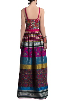 Multicolored spaghetti strap gown