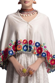 White embroidered cape & skirt