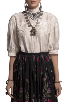 White embroidered top & skirt