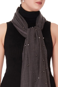Charcoal black sequin scarf