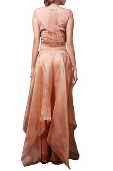 Brown crop top with organza asymmetric skirt