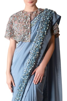 Blue bugle bead embroidered blouse