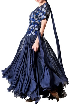 Blue thread embroidered tulle gown