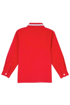 Red shirt with metal zipper