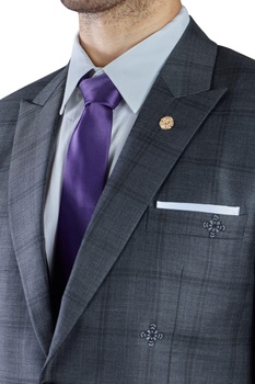 Grey checked worsted wool dinner jacket with trousers