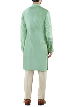 Mint green embroidered silk kurta