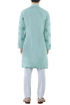 Mint green embroidered cotton silk kurta