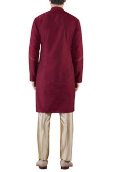 Burgundy embroidered cotton silk kurta