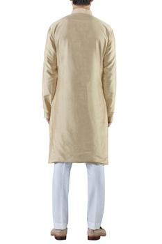 Pale gold embroidered cotton silk kurta