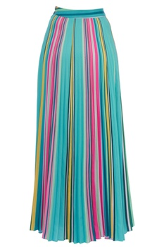 Blue striped pleated skirt