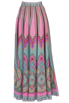 Multicolored ming crepe silk kaleidoscopic skirt
