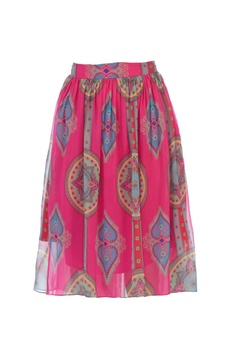 Pink gathered high low style skirt