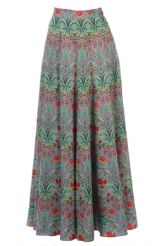 Green flared maxi skirt