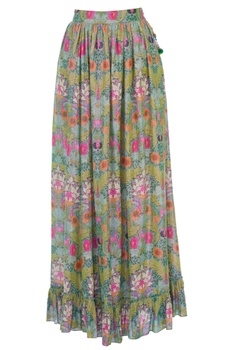 Multicolored floral printed maxi skirt