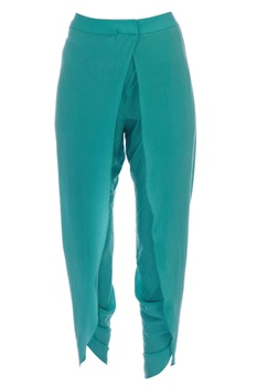 Green crepe silk tulip pants